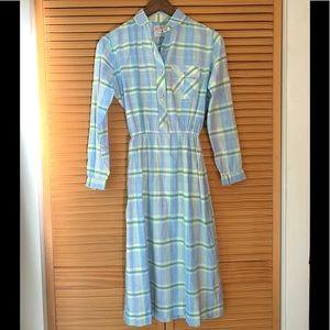 Vintage Nantucket Plaid Button Down Dress